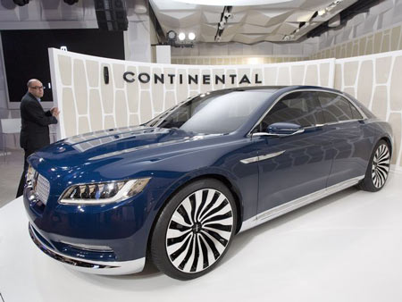 A Lincoln Continental concept car is shown at the New York International Auto Show, Monday, March 30, 2015, in New York. Thirteen years after the last Continental rolled off the assembly line, Ford Motor Co. is resurrecting its storied nameplate. The production version of the full-size sedan goes on sale next year. (Photo: Mark Lennihan, AP