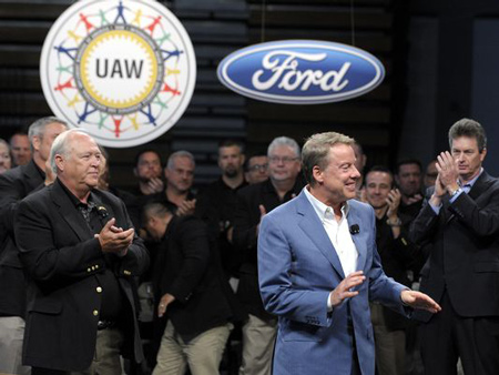 Ford Executive Chairman Bill Ford, Jr. at the 2015 National Negotiations Opening Day in the Cass Technical High School gymnasium, Thursday morning, July 23, 2015. - Todd McInturf
