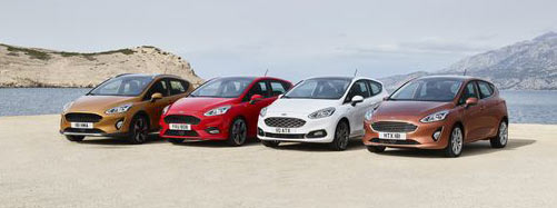 The next-generation Ford Fiesta unveiled Tuesday has four trim levels, from left: the Active crossover, ST Line, Vignale and Titanium.