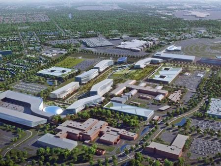 An aerial shot of what Ford's new product campus could look like. The campus would include a new 700,000 square-foot Design Center (lower left corner) that will include studios and an outdoor design courtyard. The long-term project will include demolishing certain facilities and updating existing ones.  Ford Motor Company