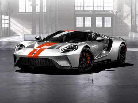 Ford has begun to take orders for its GT supercar, which will be priced in the mid-$400,000s. Above: A GT in Ingot Silver, with a Competition Orange stripe.  Ford Motor Co.