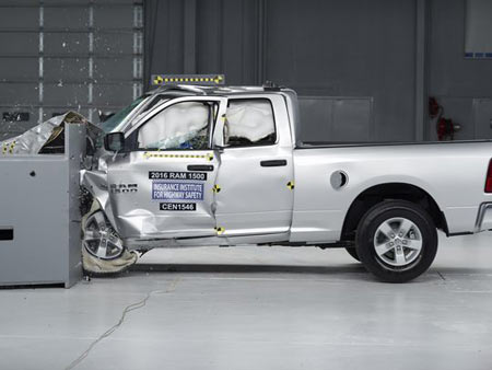 All trucks, including the 2016 Ram 1500 Crew Cab, besides the F-150 earned the worst possible rating for lower body injuries. (Photo: IIHS)
