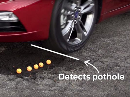 Ford demonstrated the pothole-softening technology in a test video with the assistance of ping pong balls.