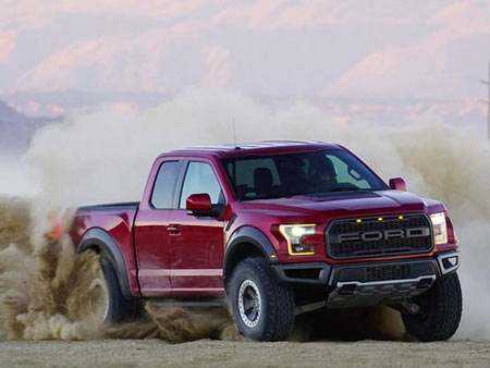 The Ford Raptor tears up the 50-mile Borrego Desert course with 4-wheel-traction and versatile Fox sports shocks.
