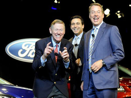 Ford Motor CEO Alan Mulally, left, announces his plan to retire on May 1, 2014, joined by his successor Mark Fields and executive chairman Bill Ford Jr. Mulally was considered a rock star; Fields, like other CEOs in Ford's history, lasted only a few years at the top. Here's a look at Ford's leaders since 1970.  David Coates, The Detroit News