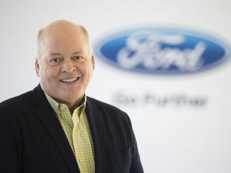 Jim Hacket, named CEO on May 22, 2017. The former Steelcase Inc. CEO and former interim athletic director for the University of Michigan spent the last year chairing the automaker's Ford Smart Mobility subsidiary. Among his tasks: restoring the culture of teamwork that Alan Mulally implemented.  Ford Motor Co.