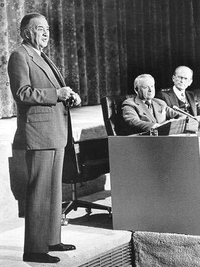 Henry Ford II resigns from Ford Motor Company on March 13, 1980. With him are CEO Phillip Caldwell, who succeeded Ford as chairman of the board, and at right, Don Petersen, a future Ford CEO.  The Detroit News archives