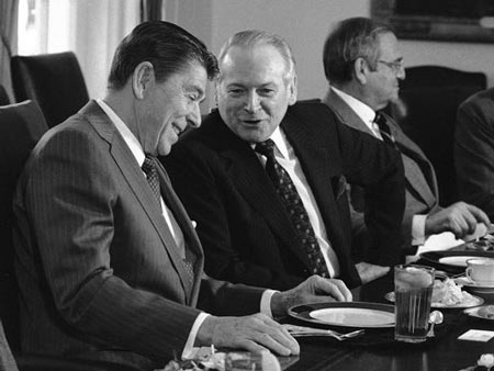 Phillip Caldwell, 1979-1985. Having taken over the presidency from Iacocca in 1978, Caldwell succeeded Henry Ford II as chairman and CEO in 1981. He's seen here meeting with President Ronald Reagan at a White House meeting with auto executives. He retired in 1985.  Dennis Cook, Associated Press