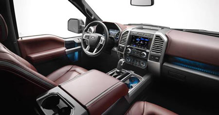 c-	The interior of the 2018 Ford F-150
