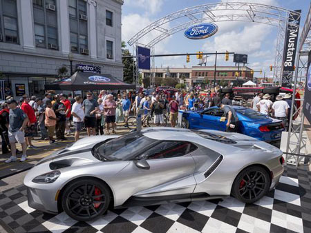 A Ford GT was on display at Mustang Alley in Ferndale on Saturday. (Photo: David Guralnick / The Detroit News)