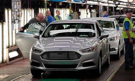 A 2014 Fusion on the production line at Ford's Flat Rock Assembly Plant in Flat Rock, Mich., on Aug. 29, 2013. Photo credit: BLOOMBERG