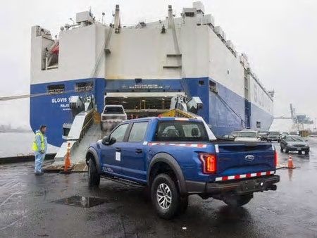 Ford Motor Co. has officially started shipping its 2017 F-150 Raptor to China, marking the first time the Dearborn-based automaker has ever exported a U.S.-built F-Series truck to that country.