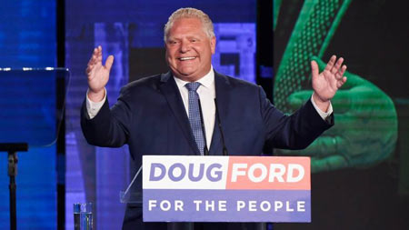 Ontario PC Leader Doug Ford reacts in Toronto after winning the Ontario provincial election to become the premier-designate on Thursday. (Nathan Denette/Canadian Press)