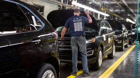 Ford Motors Company said in a statement the layoffs at its Oakville plant are the result of a 'long-standing practice of matching production with consumer demand.' (Chris Young/Canadian Press)