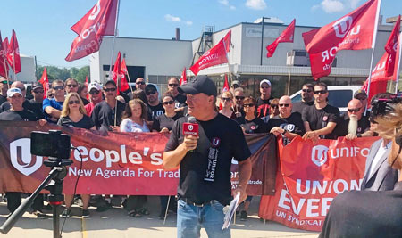 "Unifor Local 200 President John D'Agnolo says ""nothing's getting in, nothing's getting out"" at Nemak's Windsor, Ont., plant."