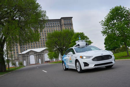 The new Ford Fusion Hybrid is a third-generation test vehicle that Argo AI is now deploying in collaboration with Ford in all five major cities of operation: Pittsburgh, Palo Alto, Miami, Washington and Detroit. (Photo: Ford)
