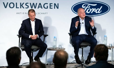 VW CEO Herbert Diess and Ford CEO Jim Hackett formally announced their companies' partnership in July 2019.