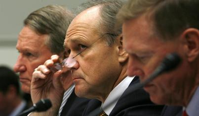 General Motors CEO Richard Wagoner, Chrysler chair and CEO Robert Nardelli and Ford president and CEO Alan Mulally testify at a hearing held by the House Financial Services Committee, Nov. 19, 2008.