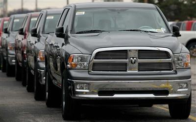 Dodge Ram trucks sit parked outside a Chrysler manufacturing plant December 19, 2008 in Fenton, Missouri. Chrysler announced plans to idle North American manufacturing plants until January 19, 2009.