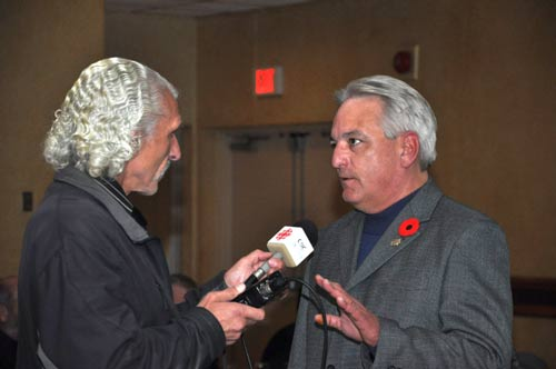 Mike Vince being interviewed by CBC