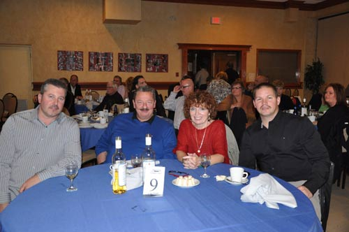 Dave Rumbodlt, Chris Wilski, Roz Monchamp and Dave Champagne attend Mikes Retirement Party Held in Windsor on Saturday Nov 12, 2011.