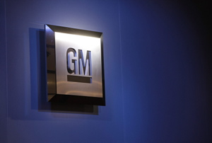 In this Jan. 12, 2009 file photo, the General Motors logo is seen on display at the North American International Auto Show in Detroit. THE ASSOCIATED PRESS/Paul Sancya, File)